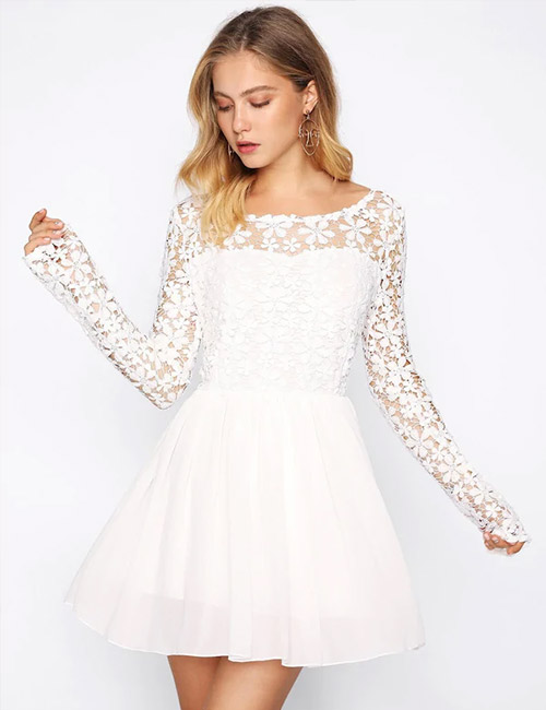 White Lace Flare Dress