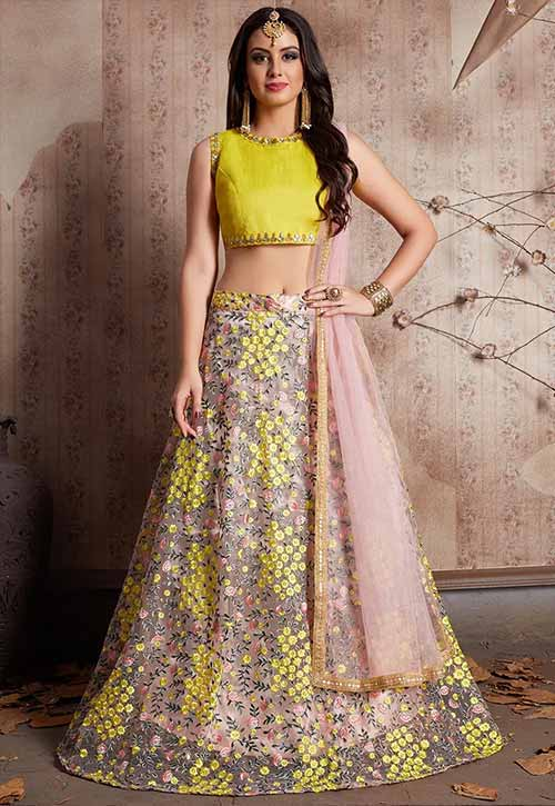 Yellow Embroidered Net Lehenga In Yellow