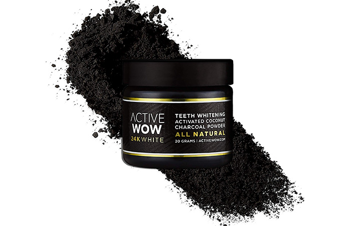 Active Wow 24K White Activated Coconut Teeth Whitening Charcoal Powder