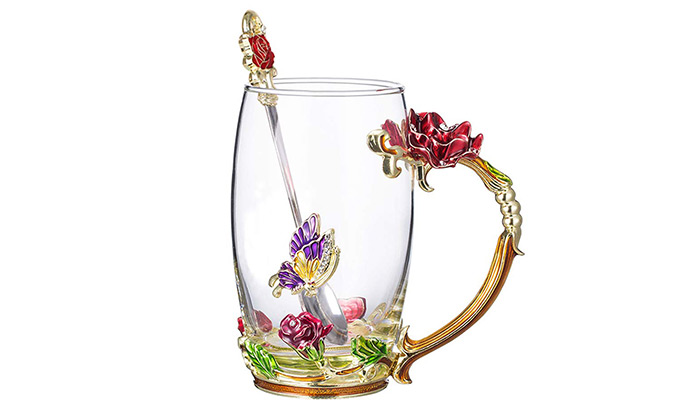 Glass Tea Mug With Spoon
