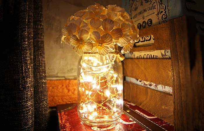 Hanging Mason Jar Sconces With LED Fairy Lights
