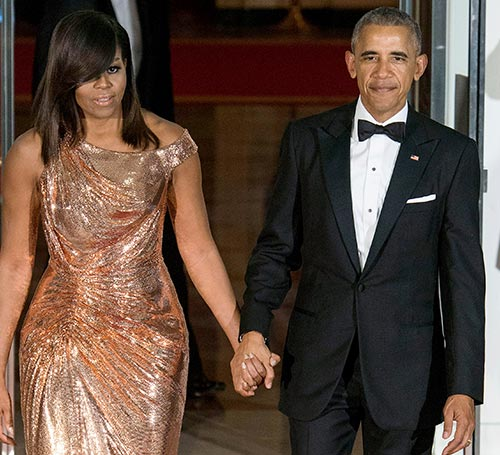 10. Michelle Obama In A Gold Versace Dress