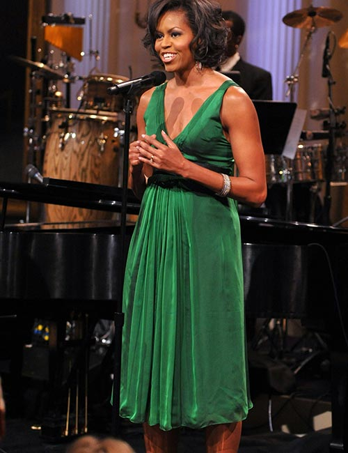 11. Michelle Obama In A Silk Green Dress