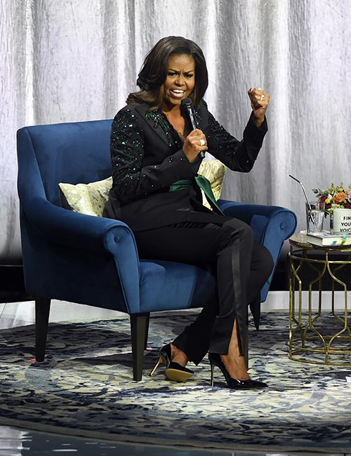 3. Michelle Obama In Emerald Green Tuxedo