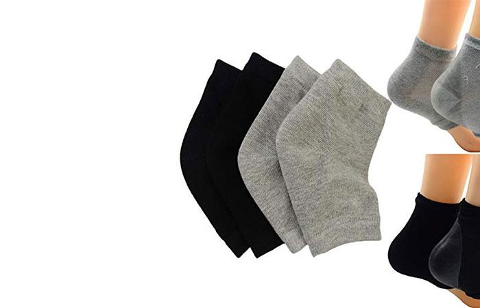 Makhry 2 Pairs Moisturizing Silicone Gel Heel Socks