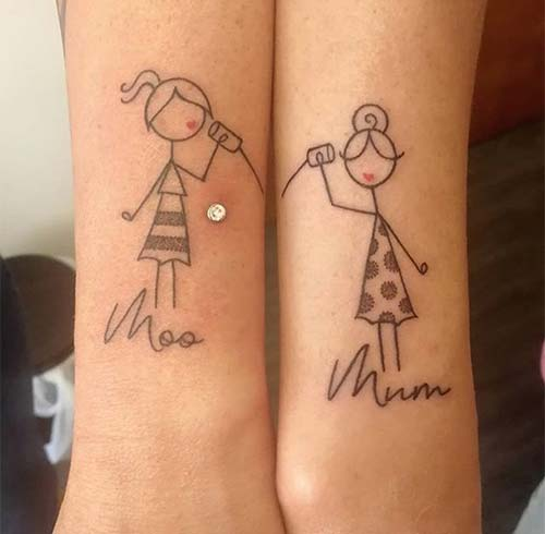 Mother And Daughter Stick Figure Tattoos