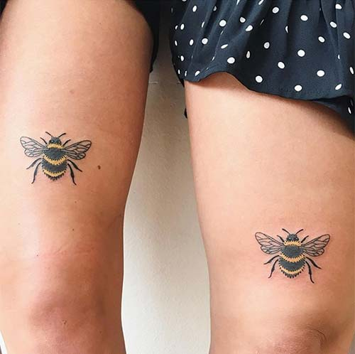 Mother-Daughter Bee Tattoos