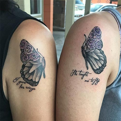 Mother Daughter Matching Butterfly Tattoos
