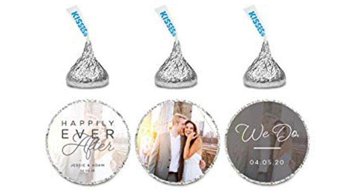 Custom labels for drops of chocolate with a photo