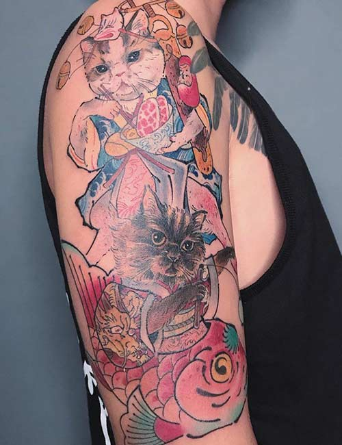 15. Japanese Cat Tattoo