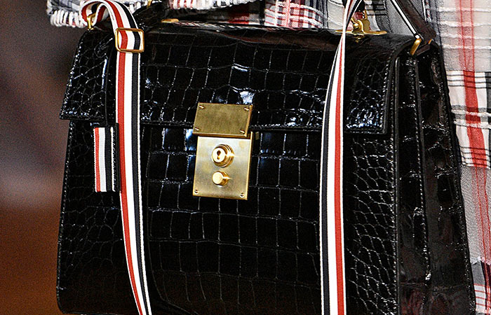 17. Thom Browne 3-Strap Small Crocodile Leather Bag