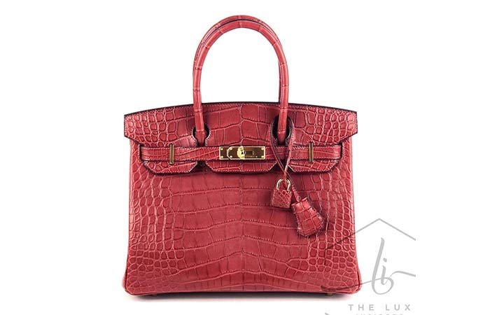 7. Hermès Exceptional Collection Shiny Rogue H Porosus Crocodile 30cm Birkin Bag