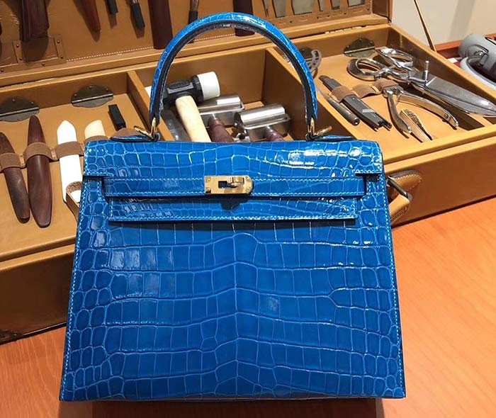 8. Blue Crocodile Hermès Birkin Bag