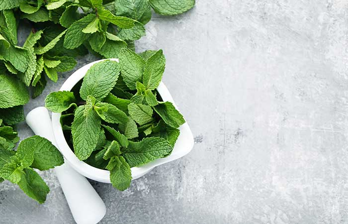 Homemade fever with mint leaves