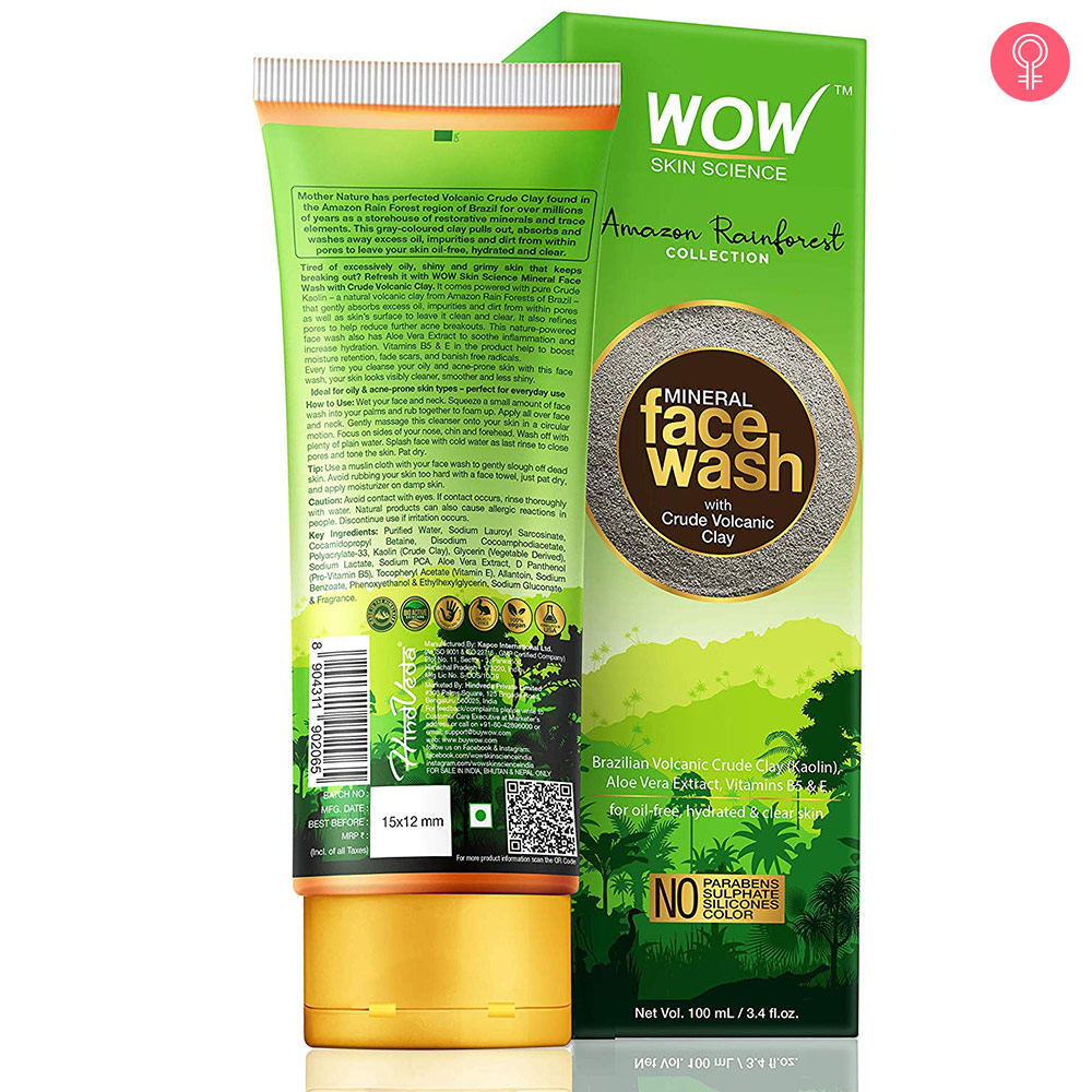 WOW Skin Science Amazon Rainforest Mineral Face Wash with Crude Volcanic Clay