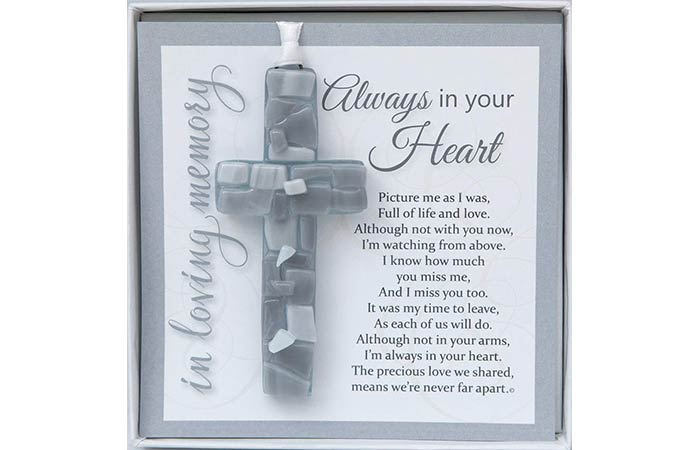 Always in Your Heart Sympathy Mosaic Cross
