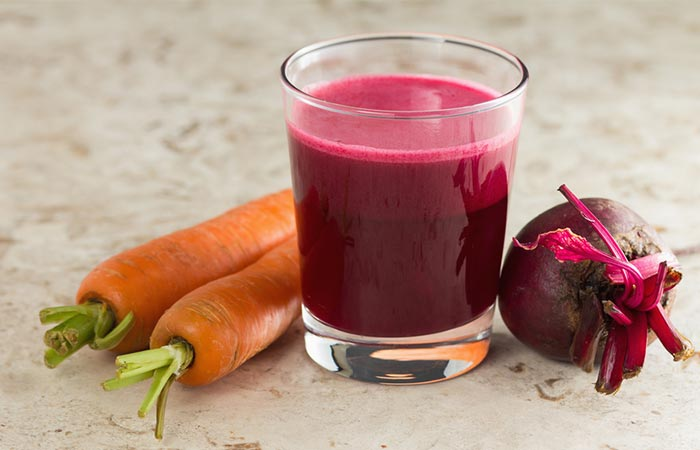 Carrot juice and beetroot juice