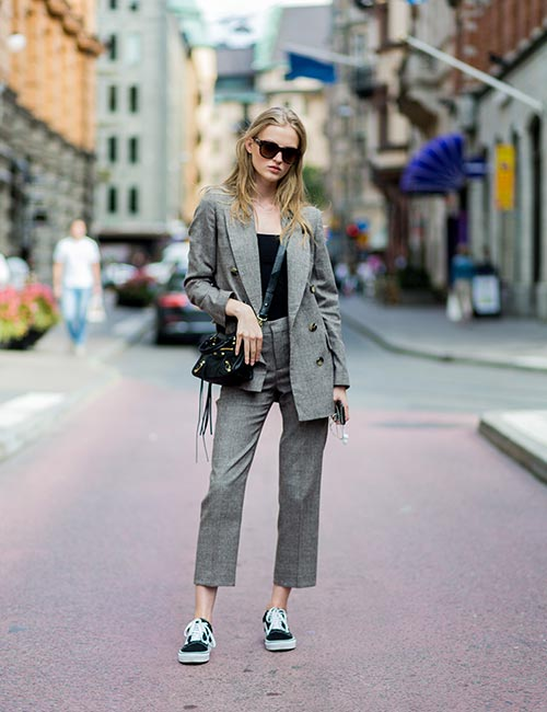 Gray Pants With Black Shoes