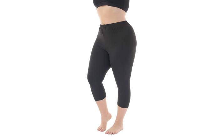 3. Zerdocean Women's Modal Plus Size Basic Solid Color Capri Leggings