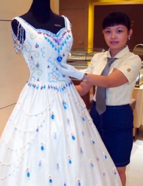9,999 Carat Gems Wedding Dress – $158,874