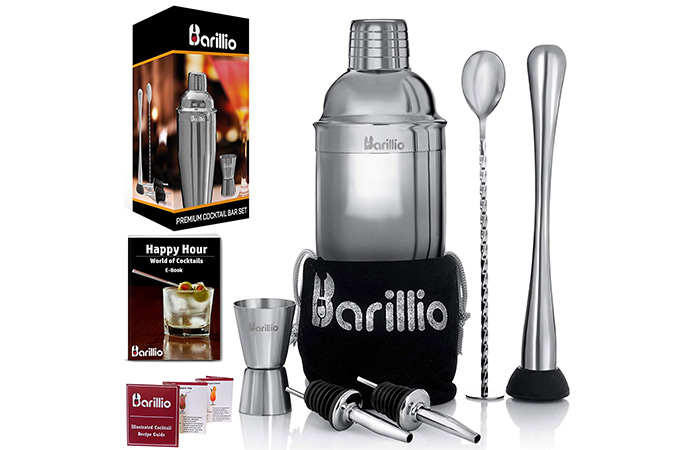BARILLIO Elite Cocktail Shaker Set Bartender Kit