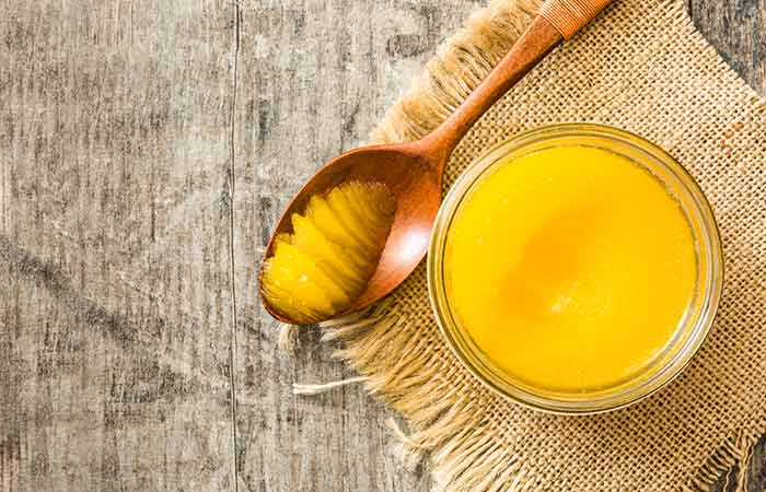 Clarified butter ghee and sugar
