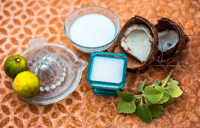 Coconut milk and lemon juice