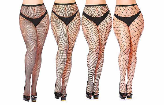 Currmeigo Women's Sexy Black Fishnet Plus-Size Tights