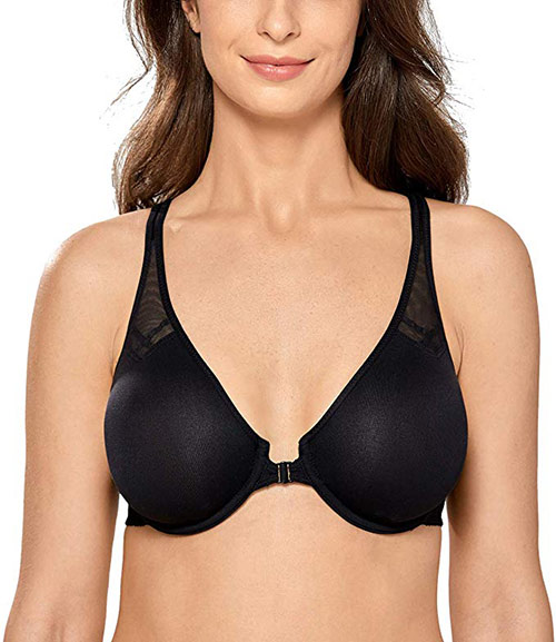 DELIMIRA Women's Underwire Support Unlined Plunge Racerback Front Closure Bra