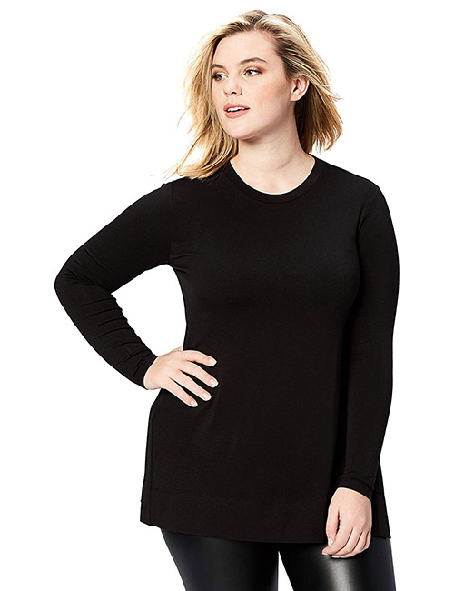 Daily Ritual Women's Long-Sleeve Split-Hem Plus Size Tunic Top