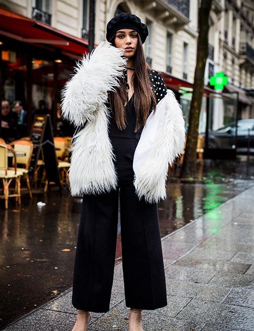 Fur Coat Over Capris
