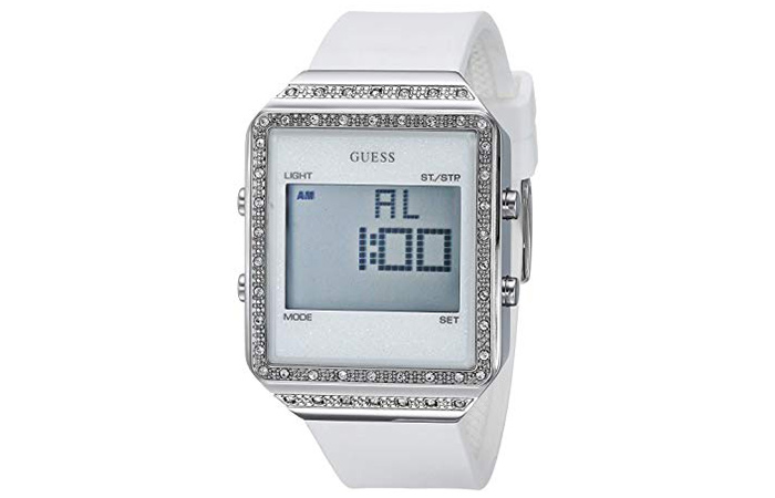 GUESS White Silicone Crystal Watch
