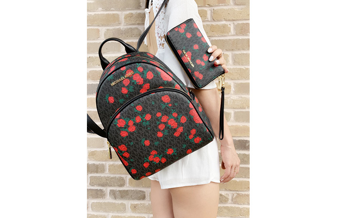 Leather Roses Backpack Bag