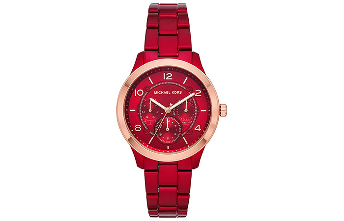 Michael Kors Gold Women's Runway Quartz Watch With Stainless Steel-Plated Strap (Red)
