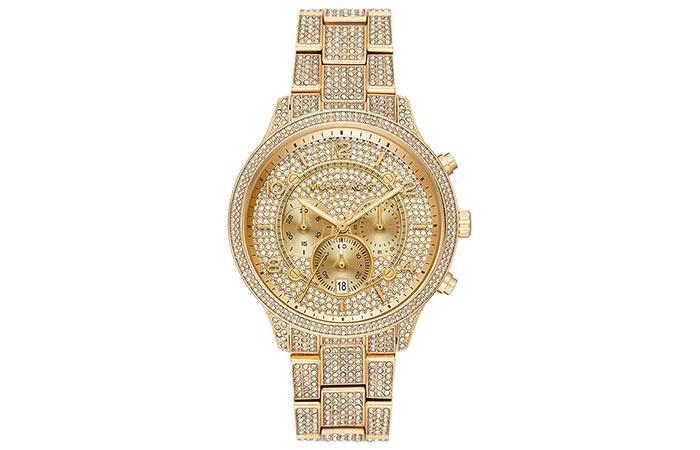 Michael Kors Wren Pavé Gold-Tone Watch W
