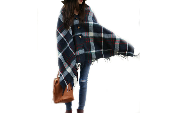 Pretty Simple Plaid Blanket Scarf With Buttons