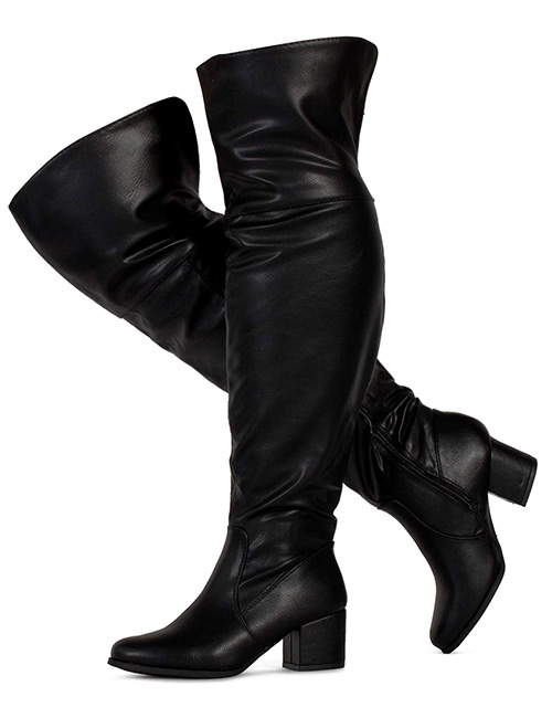 Room of Fashion Women's Over The Knee Block Chunky Heel Stretch Boots