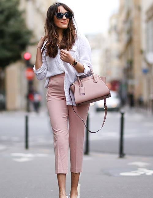 Simple White Shirt With Pastel Pants