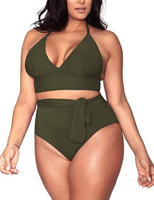 Sovoyontee Women's Plus-Size High Waisted Tummy Control Bikini