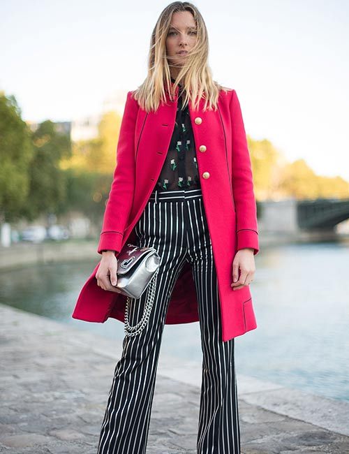 Striped Pants With Trench Coat