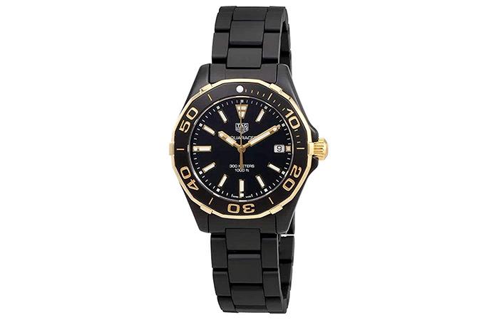 Tag Heuer Aquaracer Quartz Ladies Watch (Gold Black)