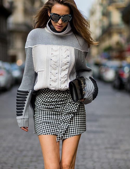 Turtleneck Top With Mini Skirt Fall Outfit