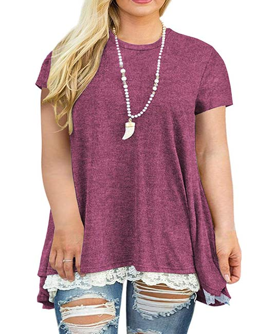 VISLILY Women's Lace Short Sleeve A-Line Plus Size Blouse Shirt