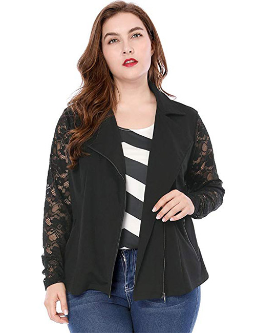Agnes Orinda Women's Plus Size Lightweight Long Sleeves Lace Zip Moto Jacket