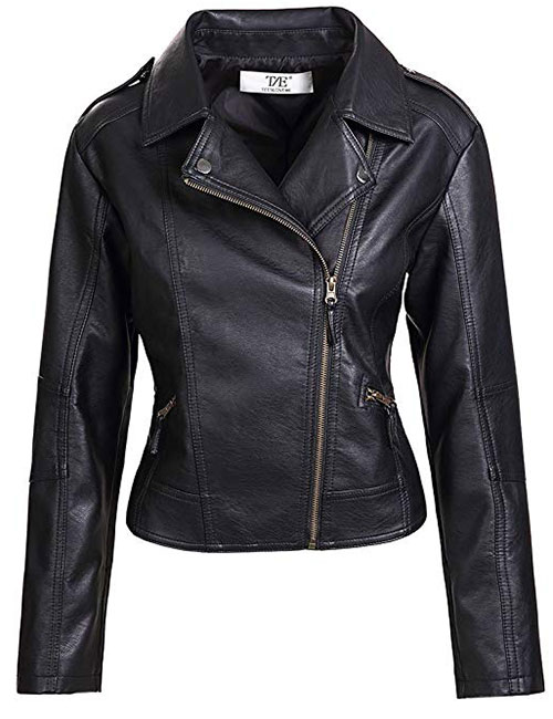 Artfasion Women's Slim Tailoring Faux Leather PU Short Jacket
