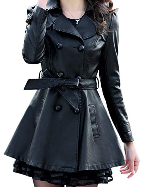 Chouyatou Women's Fashion Double-Breasted Lace Faux Leather Windbreaker Trench Coat