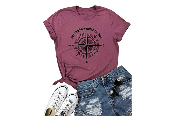 Compass Letter Print Graphic Travel Shirt