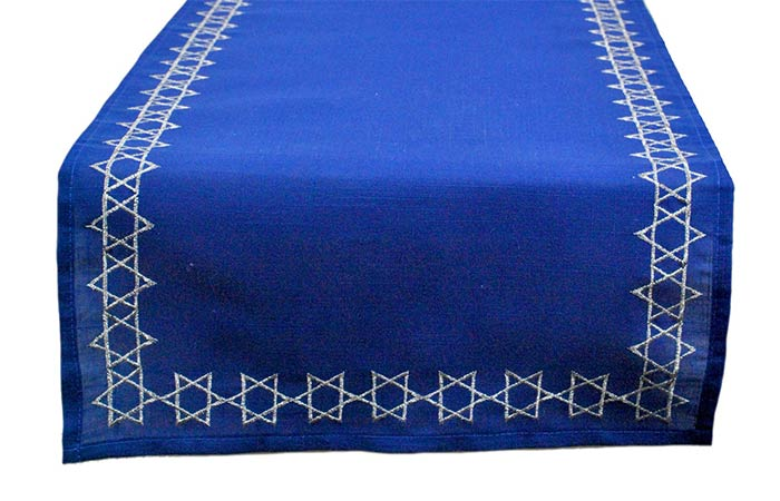 DII Embroidered Table Runner, 14 X 70, Star of David