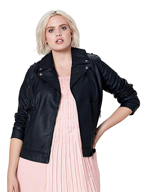 Ellos Women's Plus Size Faux-Leather Moto Jacket
