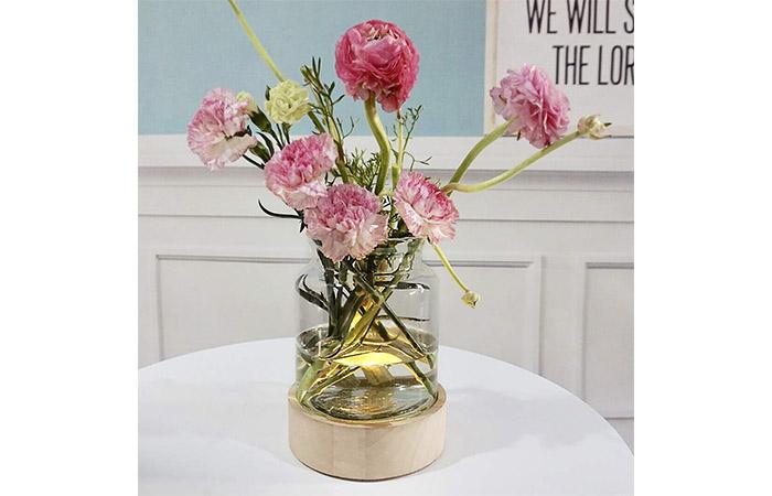 MJ Premier Tabletop Glass Vase With Wood Base